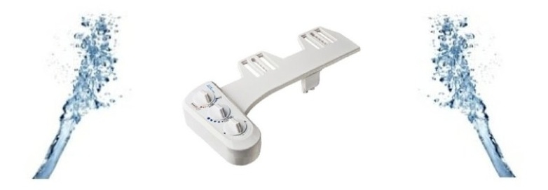 Hygiènale - La douchette du kit toilette délivre un double jet d'eau sous pression