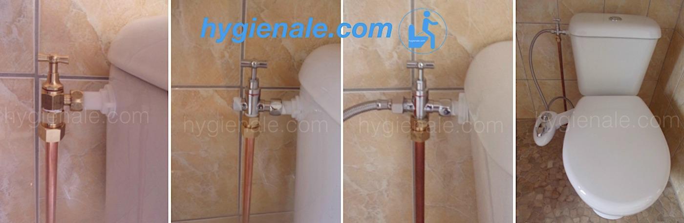 Etapes de l'insertion du robinet 3 voies permet de connecter le kit wc lavant permet.