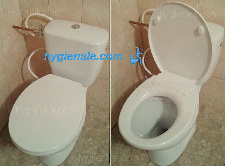 Abattant wc japonais installé sur une cuvette de toilette