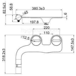 Les dimensions du kit toilette japonaise namia