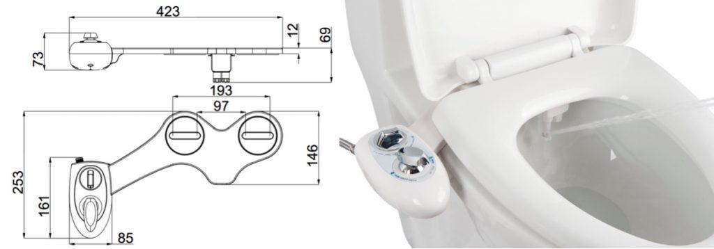 Dimension d'un kit wc lavant japonais à installer sur une cuvette de toilette.