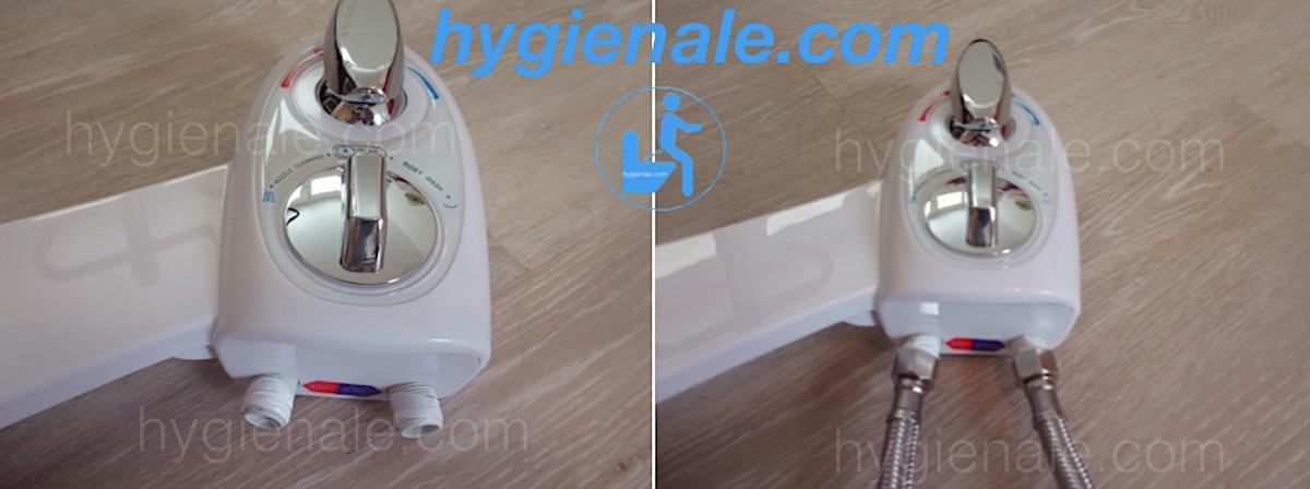 Photo de la connexion des flexibles du kit wc lavant japonais à jet d'eau