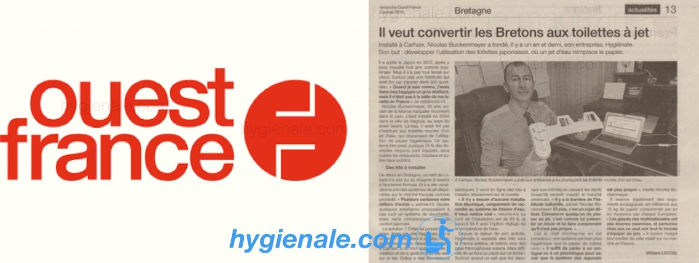 Article Ouest France sur les toilettes Hygiènale
