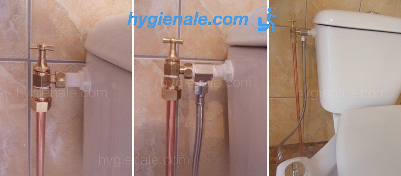 Photo de l'insertion du raccord du kit wc japonais sur le réservoir de toilette