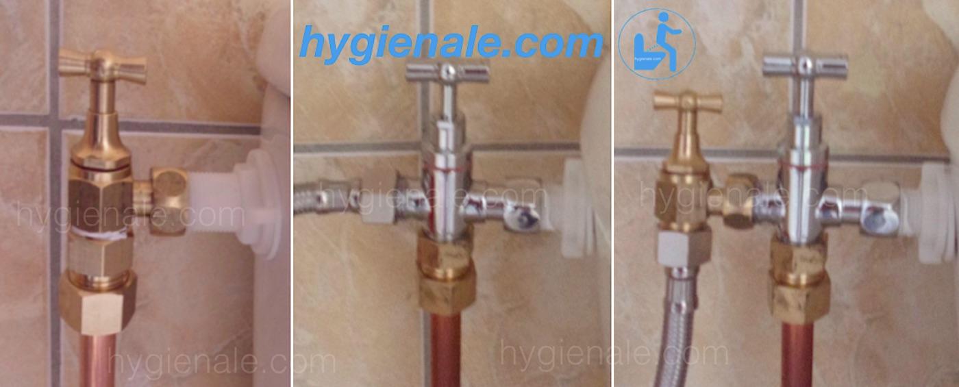 Le robinet 3 voies pour kit wc japonais lavant est prévu pour installer une douchette wc