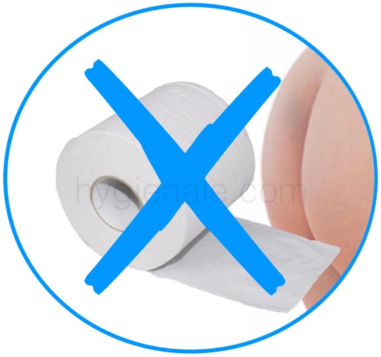 Stopper le papier wc pour s'essuyer les fesses.