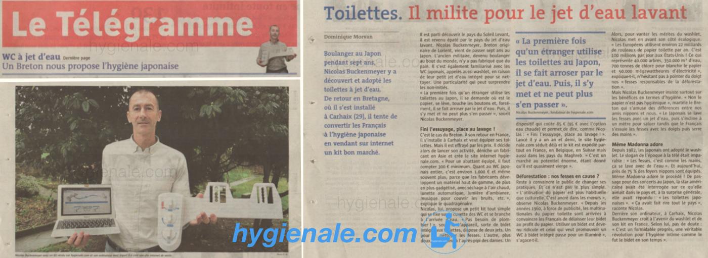 Article du télégramme sur les wc Hygiènale