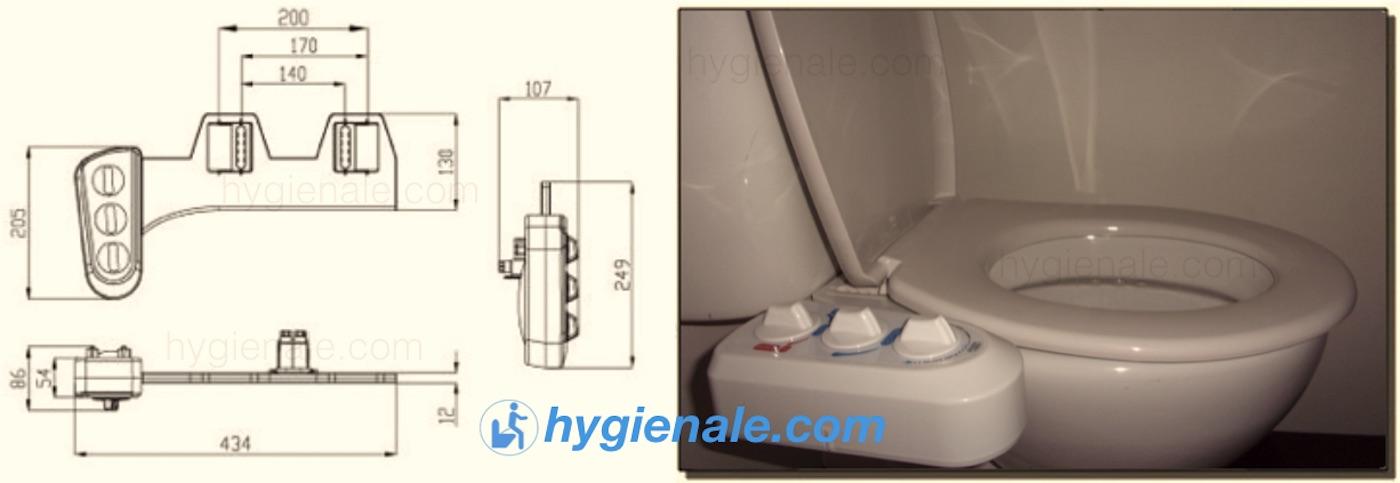 Les dimensions du kit toilette japonaise permettent une pose facile et pratique sur un sanitaire.