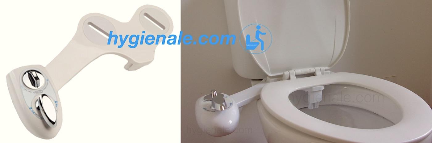 Le kit douchette wc posé sur une cuvette de toilette délivre un jet d'eau pour se laver les fesses