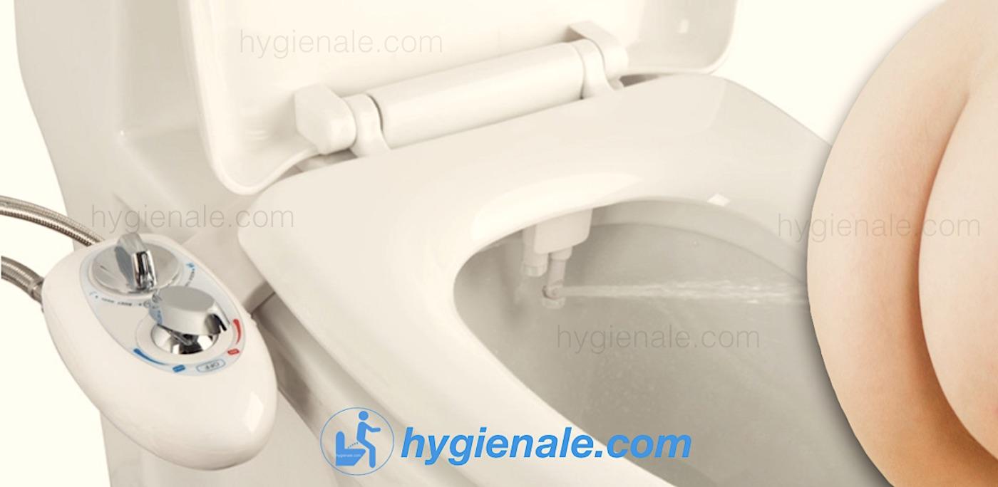 Le kit wc japonais lavant s'installe sur le siege de la cuvette de toilette.