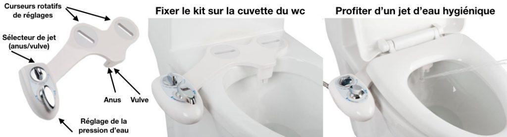 Le kit wc lavant japonais est conçu pour une cuvette de toilette
